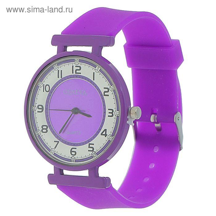 Часы наручные женские цветное стекло, ремешок сиреневый