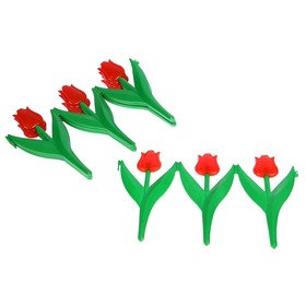 Декоративное ограждение для дачи и сада, 30 × 225 см, 5 секций, пластик, красный цветок, «Тюльпан»