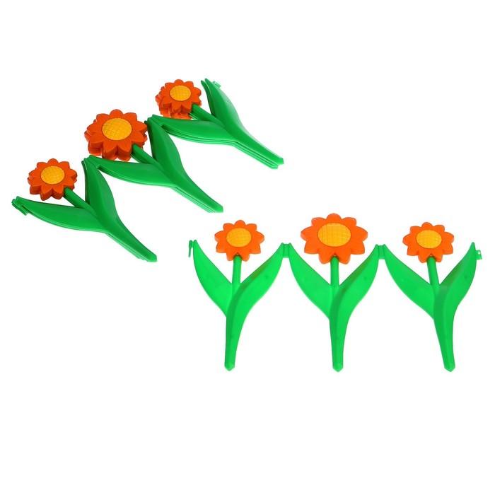 Ограждение декоративное, 32.5 х 225 см, 5 секций, пластик, оранжевый цветок, «Ромашка»