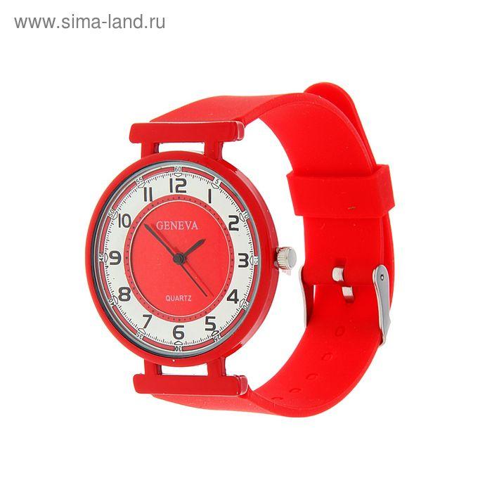 Часы наручные женские цветное стекло, ремешок красный