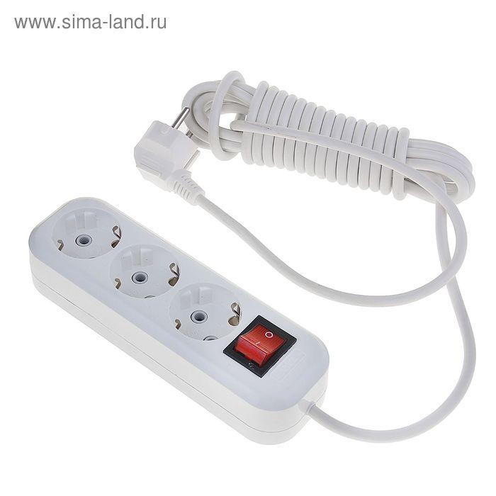 Удлинитель LUX У3-ЕВК-05, трёхместный, 5 м, с кнопкой вкл/выкл, с заземлением, 220-250 В