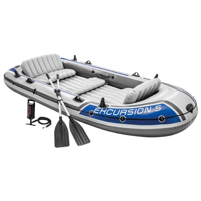 Лодка надувная Excursion 5, 5 местная, 366 х 168 х 43 см, вёсла алюминиевые, насос, до 600 кг, 68325NP INTEX