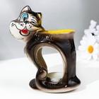 "Candle holder-oil burner ""Cunning cat"", dark mix"