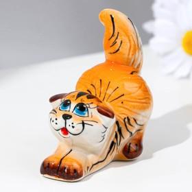Сувенир  «Котик» , рыжий микс, гжель в Донецке