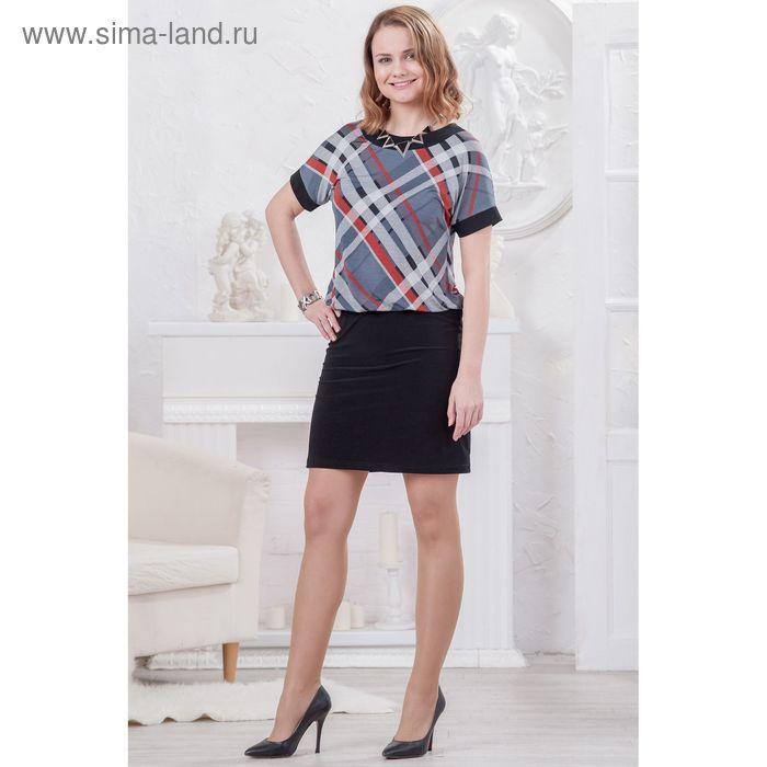 Платье женское 4494, размер 48, рост 164 см, цвет черно-белый/коралл