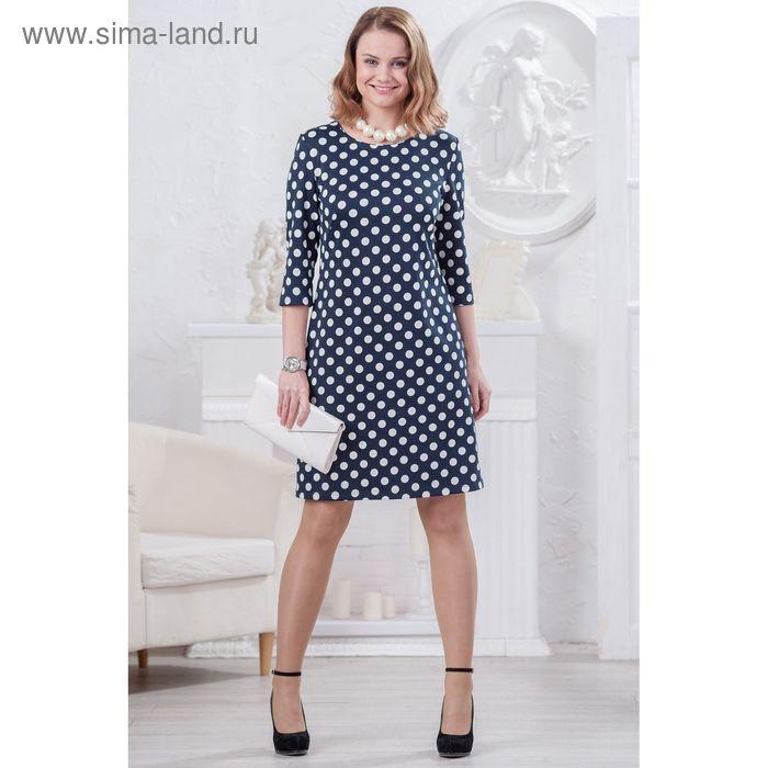 Платье женское 4479, размер 46, рост 164 см, цвет темно-синий/белый