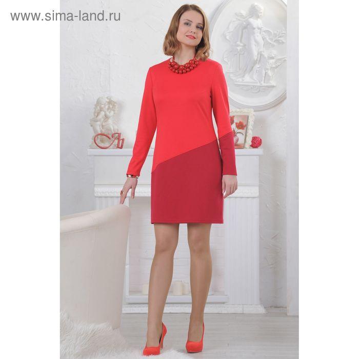 Платье женское 4506, размер 48, рост 164 см, цвет коралл/вишня
