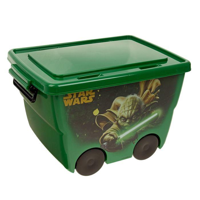 """Ящик для игрушек """"Звёздные войны"""" на колёсах, с крышкой, 23 л, цвет зелёный"""