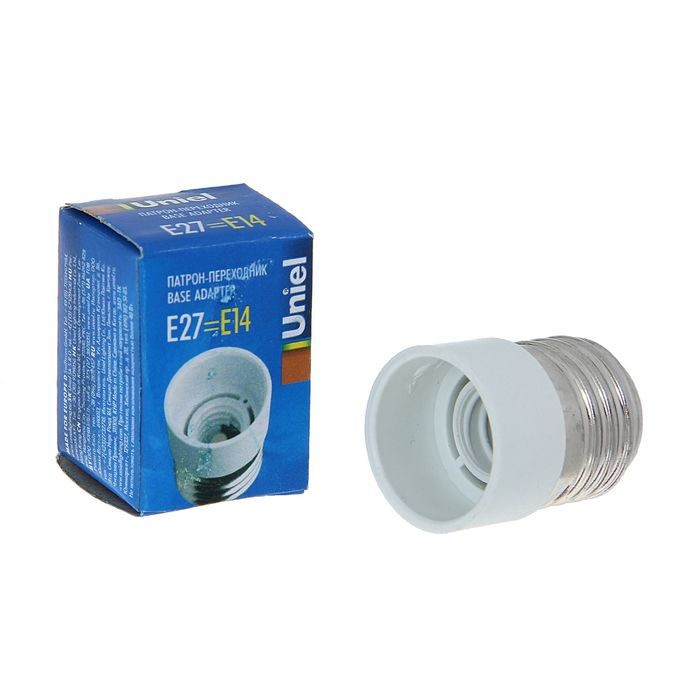 Патрон-переходник Uniel, Е27/Е14, термостойкий пластик