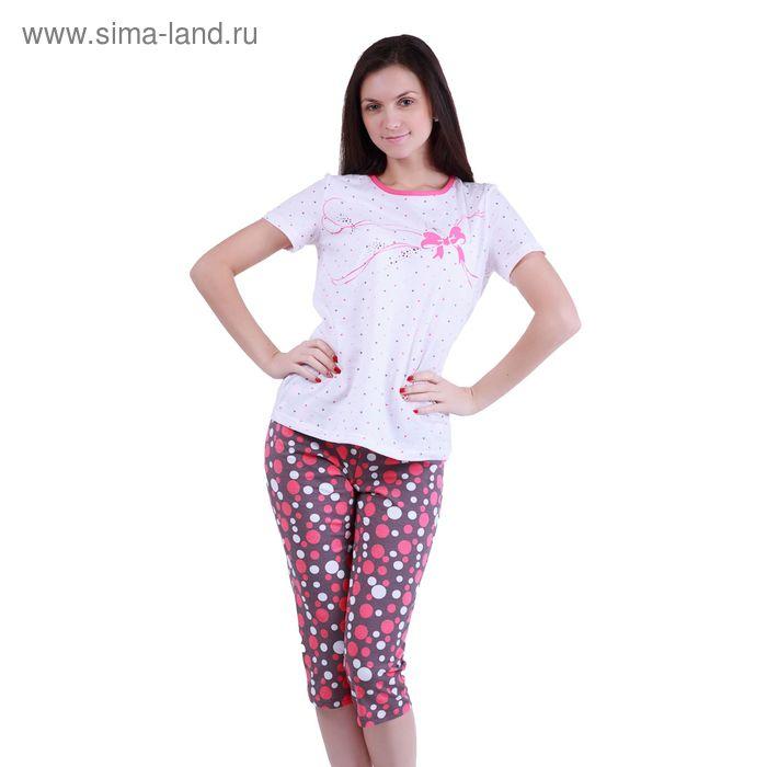 """Пижама женская """"Цветные сны"""" (футболка, бриджи) Р208127, рост 170-176 см, р-р 52"""
