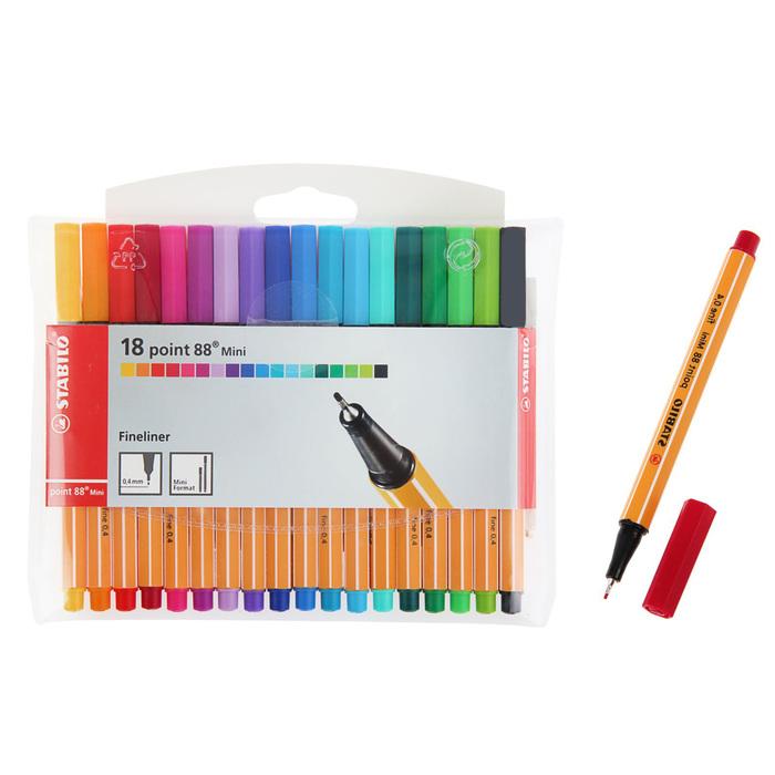 Набор ручек капиллярных 18 цветов Stabilo point 88 mini 0.4мм в пластиковом футляре