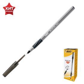 Ручка шариковая, чёрная, тонкое письмо, резиновый упор, BIC Round Stic Exact