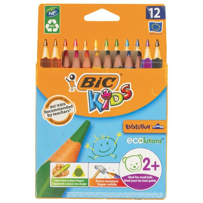 Цветные карандаши 12 цветов, детские, утолщенные. трёхгранные, BIC Kids Evolution Triangle
