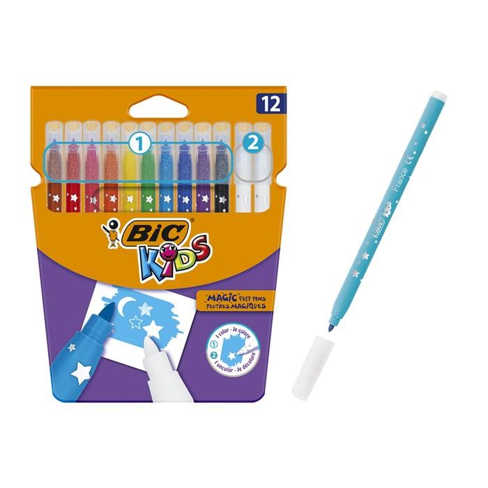 Фломастеры 10 цветов и 2 обесцвечивающих, детские, стираемые, BIC Kids Magic