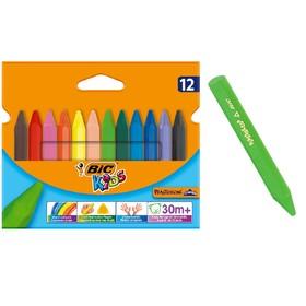 Цветные мелки 12 цветов, детские, пластиковые, трёхгранные, BIC Kids Plastidecor