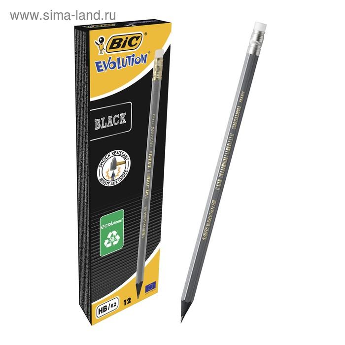 Карандаш чернографитный BIC HB Evolution BLACK пластиковый с ластиком 918484