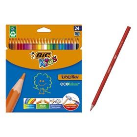 Цветные карандаши 24 цвета, детские, шестигранные, ударопрочные, BIC Kids Evolution
