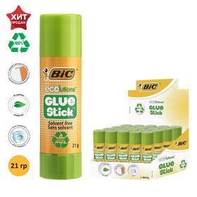 Клей-карандаш, прозрачный, твёрдый, 21 г, BIC Glue Stick, ECOlutions, с яблочным запахом