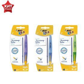 Ручка шариковая, обучающая письму, для обеих рук, синяя, голубой корпус, BIC Kids Twist