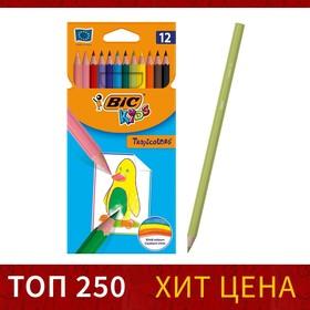 Цветные карандаши 12 цветов, детские, шестигранные, ударопрочные, BIC Kids Tropicolors
