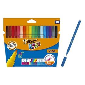 Цветные фломастеры 18 цветов, детские, смываемые, тонкое письмо, BIC Kids Visa