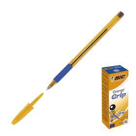 Ручка шариковая, синяя, тонкое письмо, резиновый упор, оранжевый корпус, BIC Orange Grip