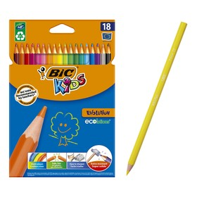 Цветные карандаши 18 цветов, детские, шестигранные, ударопрочные, BIC Kids Evolution