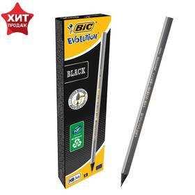 Карандаш чернографитный, HB, чёрный корпус, BIC Evolution Black