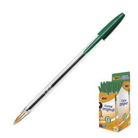 Ручка шариковая BIC Cristal, чернила зеленые, узел 1.0мм, одноразовая Ош