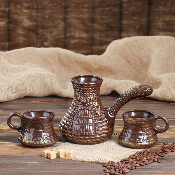 """Кофейный набор """"Таверна"""", 3 предмета, бронза, 0.65/0.25 л"""