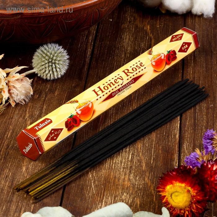 Благовония шестигранник Sarathi Honey Rose Мед роза 20 палочек в упаковке