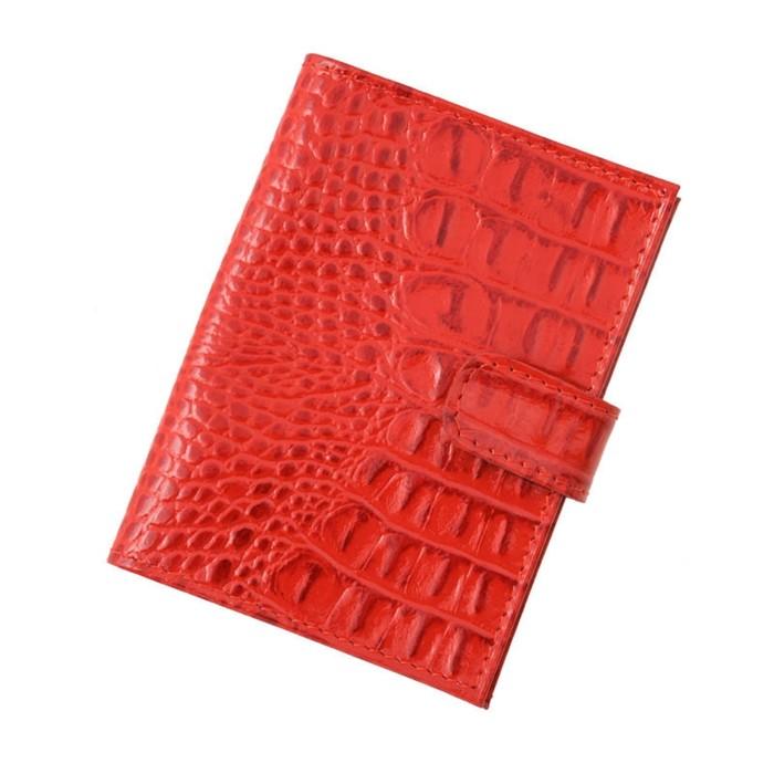 Обложка для автодокументов на кнопке, красный кайман