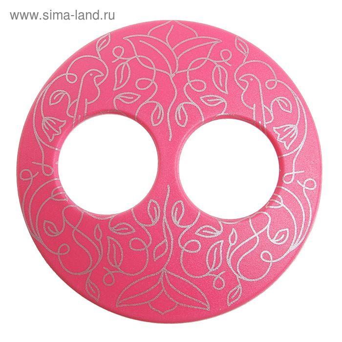 """Волшебная пуговица """"Матовая дизайн"""" круг, цвет ярко-розовый в серебре"""