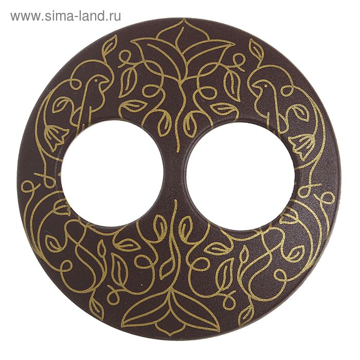 """Волшебная пуговица """"Матовая дизайн"""" круг, цвет шоколадный в золоте"""