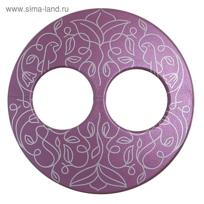 """Волшебная пуговица """"Матовая дизайн"""" круг, цвет баклажанный в серебре"""
