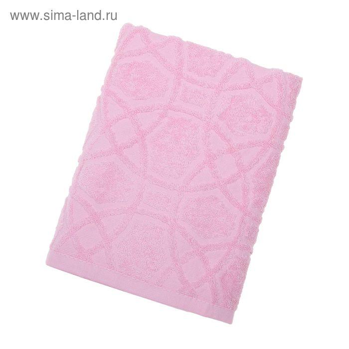 Полотенце махровое, жаккардовое, размер 50х100 см, 380 гр/м, цвет бледно-розовый