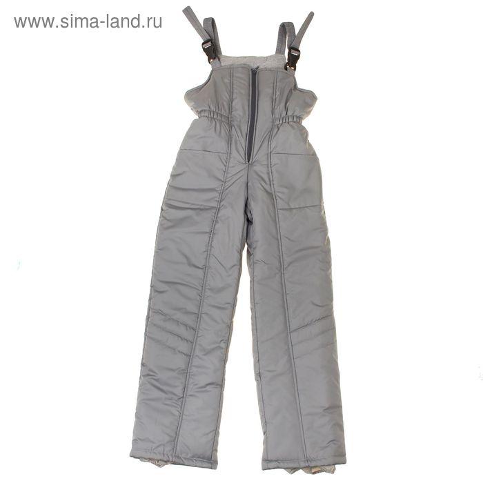 Полукомбинезон для девочки, рост 134 см, цвет серый_ПК 02-38