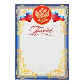 """Грамота """"Универсальная"""" символика РФ, узоры, голубая рамка"""