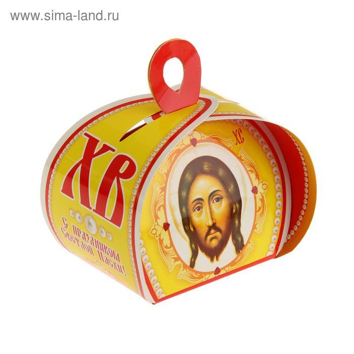 """Подарочная коробочка """"С праздником Светлой Пасхи!"""" желтая"""