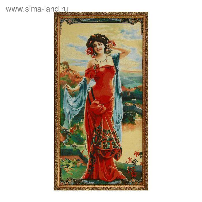 """Гобеленовая картина """"Дама в красном платье"""""""