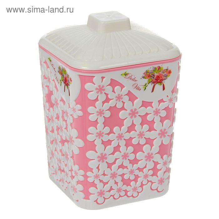 """Банка 1 л с крышкой """"Дольче Вита"""", цвет розовый"""