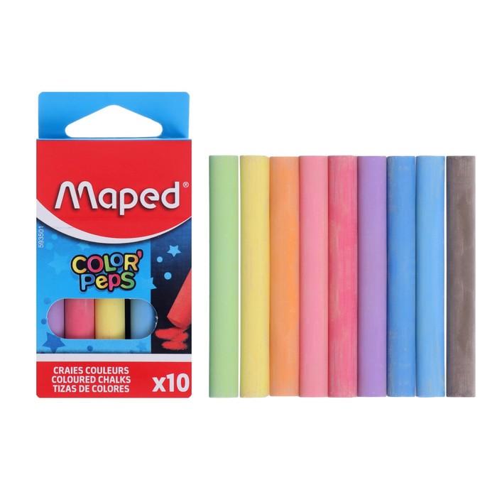 """Набор мелков школьных цветных 10 цветов Color'Peps круглые, специальная формула """"без грязи"""""""