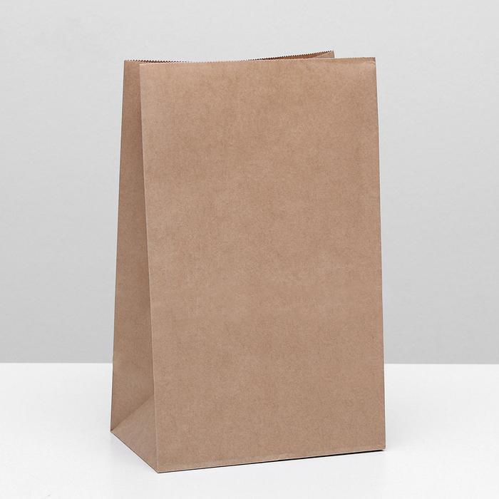 Пакет крафт бумажный фасовочный, прямоугольное дно 18 х 12 х 29 см - фото 308015693