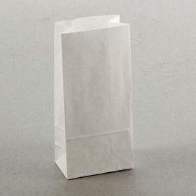 Пакет крафт бумажный фасовочный, белый, прямоугольное дно 8 х 5 х 17 см