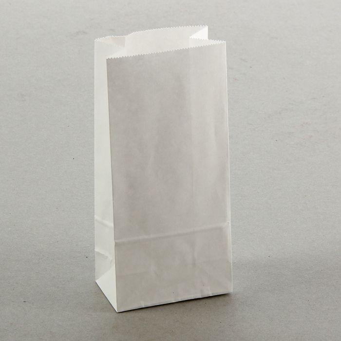 Пакет крафт бумажный фасовочный, белый, прямоугольное дно 8 х 5 х 17 см - фото 308015695