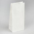 Пакет бумажный фасовочный, прямоугольное дно, белый, 12 х 8 х 25 см