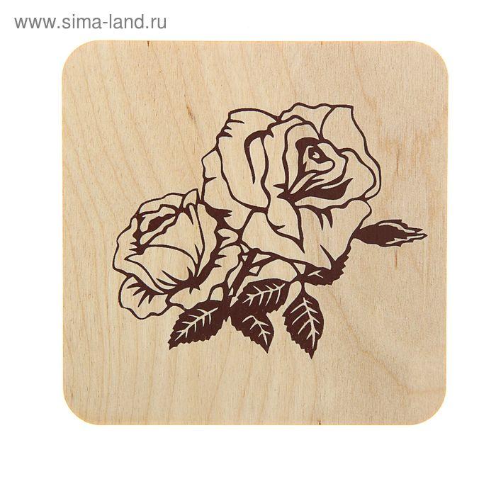 """Подставка под кружку, квадратная """"Розы"""" печать"""