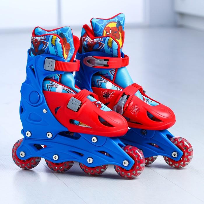 """Роликовые коньки """"Человек паук"""", раздвижные, колеса PVC 64х24 мм, пластиковая рама, р. 33-36"""