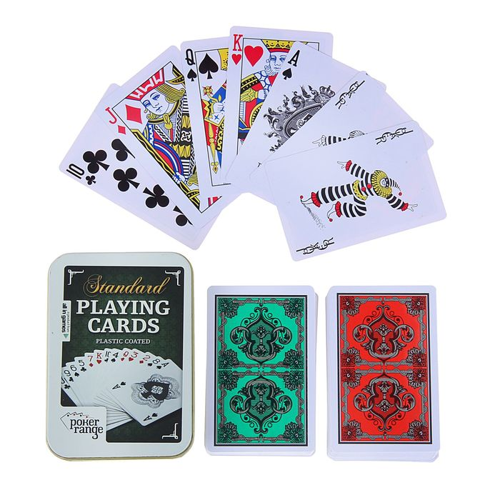 """Карты игральные пластик """"Poker range"""", 54 шт, 8.8х5.8 см, 28 мкр, микс"""