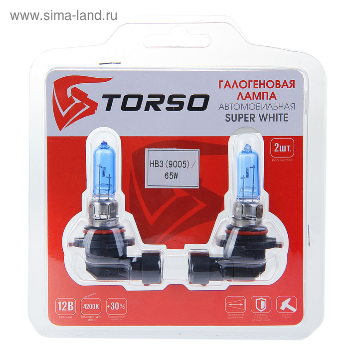 Комплект галогенных ламп TORSO HB3, 4200 K, 12 В, 65 Вт, 2 шт., SUPER WHITE